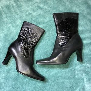 Shoes - Black Soft Leather Boots from Italy Ankle Boots